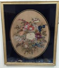 Very large antique 3 dimensional needle point