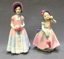 2 Vintage Royal Doulton porcelain statues of young ladies,