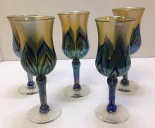 5 Lovely Lundberg Studios wine goblets, excellent condition