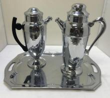2 Vintage Chrome cocktail shakers with serving tray