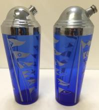2 Cobalt blue Hazel Glass cocktail shakers, sailing flags