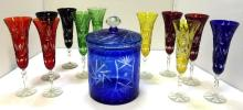 Cut to clear Bohemian? champagne flutes & ice bucket