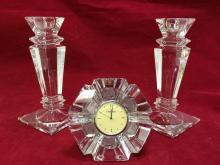 2 crystal candlesticks and Orrefors Crystal desk clock