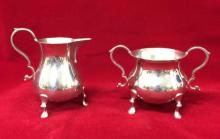 Kirk Stieff, pewter creamer and sugar bowl