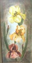 Bernice Huber signed water color of irises, signed B. Huber Canal CA 1960