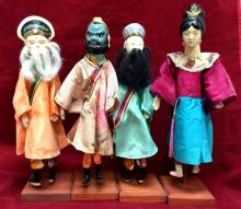 4 Vintage Chinese puppets with stands