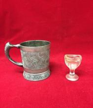 Vintage shaving mug and glass eye washer
