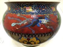 Spectacular large Chinese Cloisonn pot