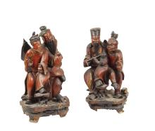 A pair of two lacquered wooden sculptures