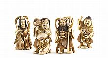 A lot of four Chinese ivory figures