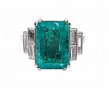 A platinum and Columbian emerald ring