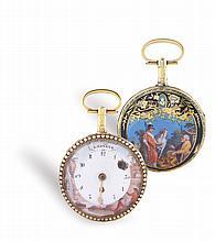 An Esquivillon & Dechoudens 18K gold and enamel pocket watch