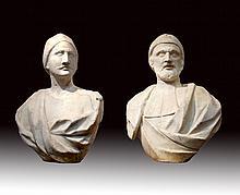 A pair of Italian Carrara marble busts