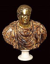 A Roman alabaster and ormolu bust