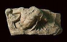 A marble fragment of a Roman sarcophagus