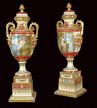 A pair of great Viennese porcelain vases