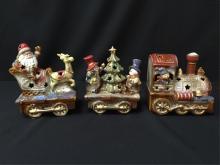 Beautiful 3 Piece Glazed Porcelain Christmas Train