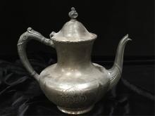 Antique Superior Silver Co. Teapot. Plate.