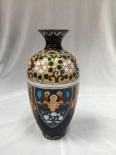 Pretty Vintage Cloisonne Vase. Black.
