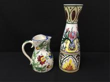 Vintage Hand Painted Vase and Pitcher.