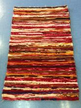 Brown, Pink and Orange Recycled Throw Rug