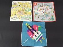Lot of 3 Vintage Swiss Handkerchiefs