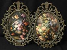 Lot (2) Vintage Ornate Framed Floral Prints. Made in Italy.