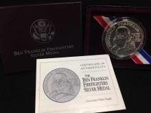 Ben Franklin Firefighters Silver Medal w/COA in orig box
