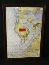 Framed Tampa Bay Nautical Chart