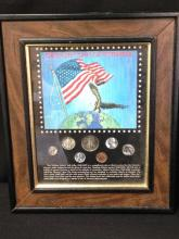 Obsolete Coins of Yesteryear in Wooden Frame