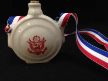 WWII Era Ceramic Canteen with American Eagle Decoration