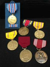 6 WWII American Medals - Defense, Navy, Asiatic Pacific Campaign & More