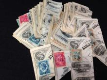 Over 125 19th Century 2¢ Internal Revenue Stamps on Cancelled Bank Notes