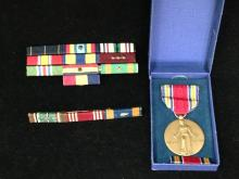 WWII Victory Medal with 14 Campaign & Achievement Ribbons