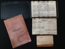 WWII Era Pilot's License Leather Wallet, Log Book & Civil Aeronautics ID.
