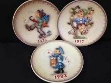 Lot (3) MJ Hummel Annual Plates. 1973, 1977 and 1983.