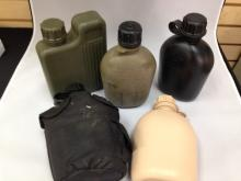 5 Assorted Plastic Military Canteens