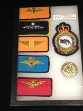 Lot of 6 RAF Squadron Patches and Hat Badge