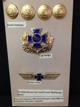 Swedish Rescue Service Buttons & Badges Set w/ Gold Wings