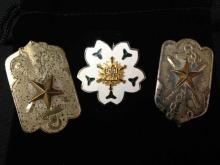 Three (3) WWII Japanese Imperial Badges - Naval Reservist & Fire Brigade