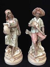 Lot (2) Royal Dux Bohemian Pottery Figurines. #76 and 77. Beautiful.