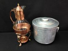 Lot (2) Vintage Coffee Carafe and Ice Bucket.