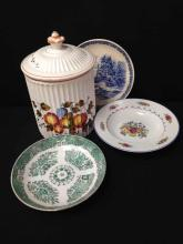 Lot (4) Vintage Hand Painted Porcelain Dishes/Cookie Jar.