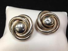 Vintage Sterling Silver .925 Clip Earrings, Love Knot.