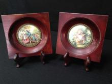 Lot (2) Vintage Mini Porcelain Paintings in Frame w/Stands.
