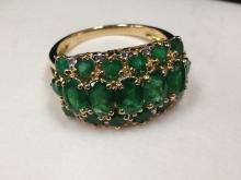 Brilliant 3 Row Emerald Cocktail Ring in 14K YG. Size 7-1/4.