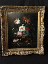 Oil on Canvas Floral Still Life Painting -