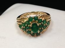Spectacular Emerald Ring in 14K YG. Size 6.