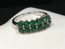 Lovely Double Row Emerald Ring in 14K WG. Size 7.