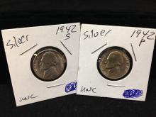 Lot of (2) Silver Jefferson Nickels 1942 P
